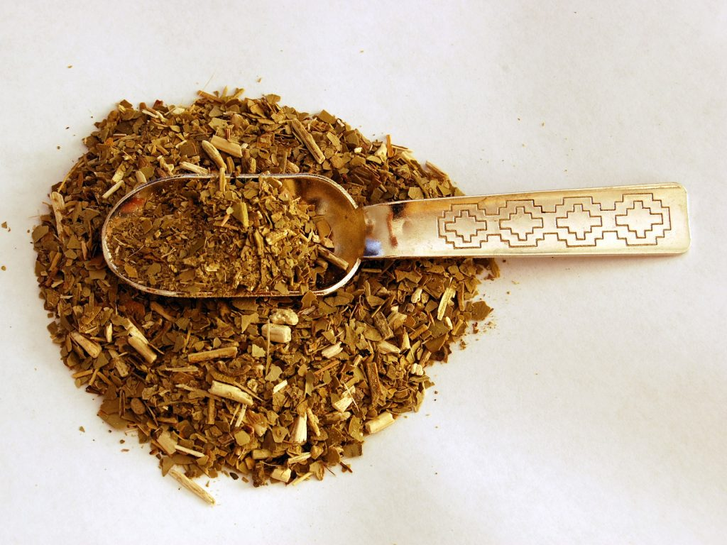 yerba mate with metal spoon