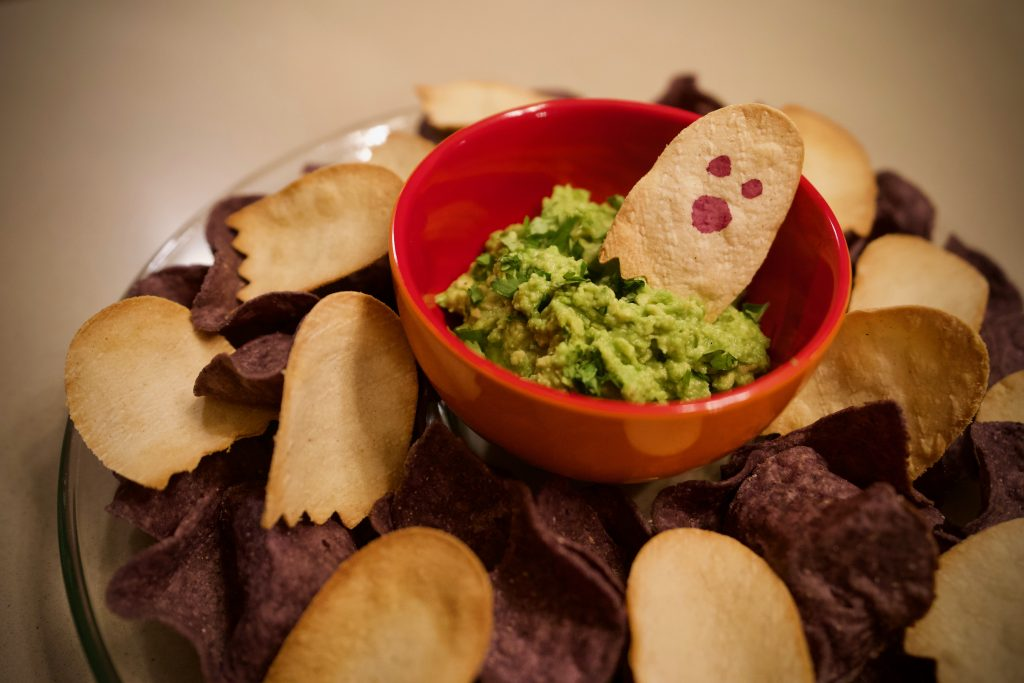 ghostly chips and guac ghost shaped tortilla chips guacamole healthy halloween