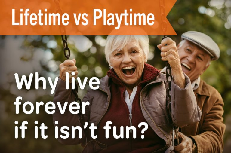 Lifetime vs playtime why live forever if it isn't fun elderly couple on swing