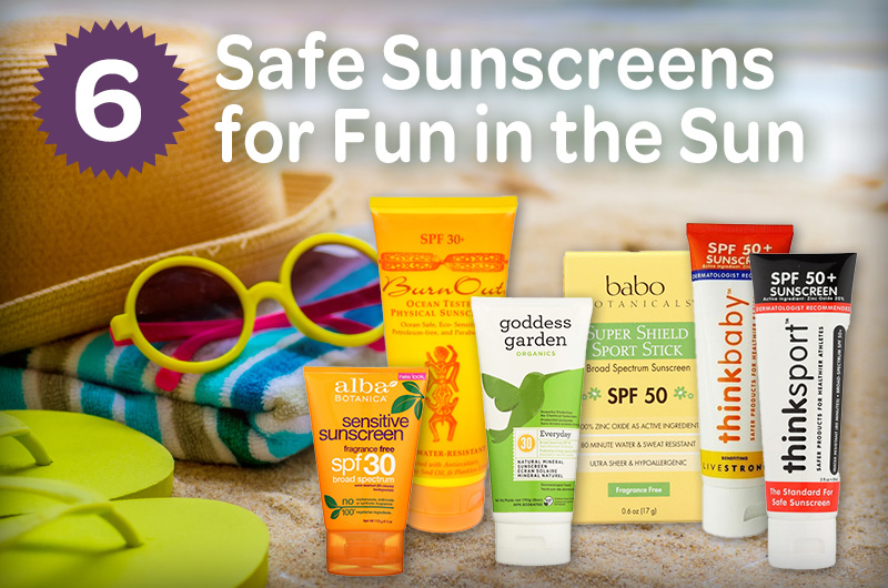 6 safe sunscreens for fun in the sun next to sunglasses hat and towel