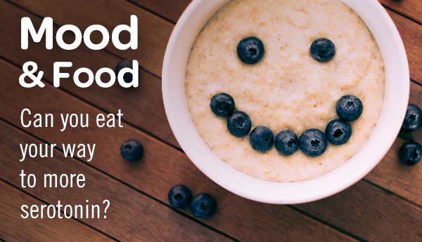 Mood and food serotonin blog title and smiling bowl of oatmeal