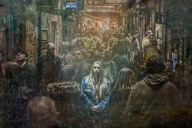 distressed girl in dreary crowd social anxiety and depression