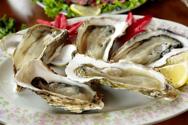 oysters on plate with lemon contain zinc