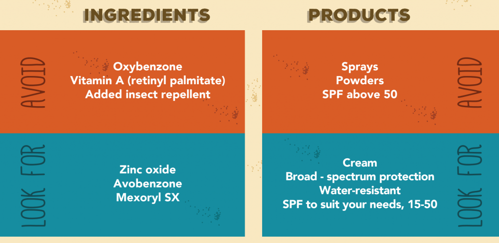 EWG chart of what to look for and avoid in sunscreen