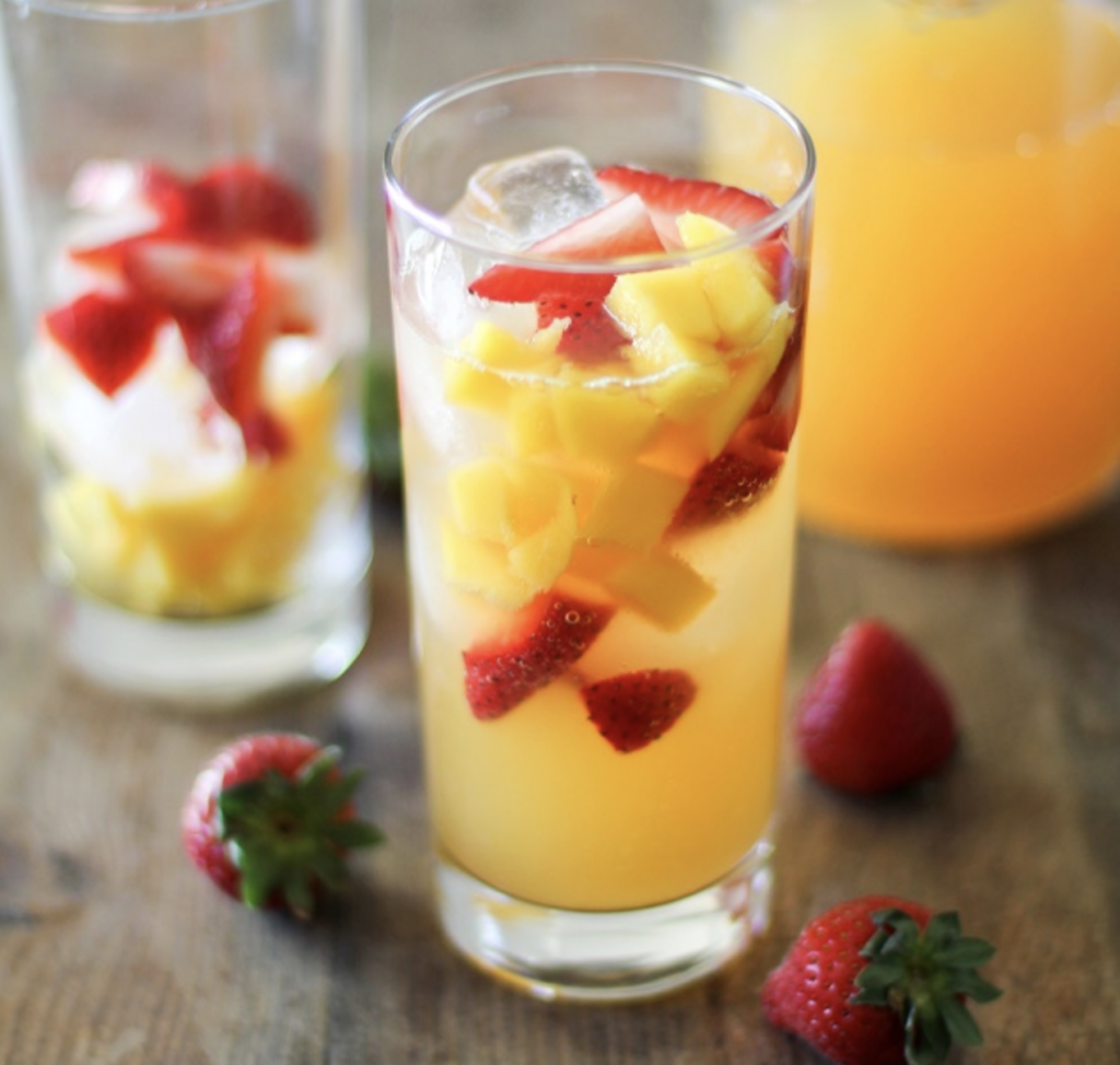 strawberry orange mango kombucha mocktail