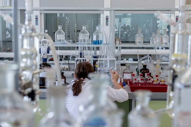 woman in a lab coat in a laboratory