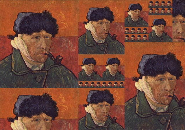 collage of van gogh's self portrait